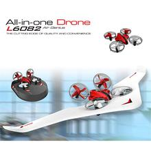 Kids DIY Fixed Wing 3 In 1 Electric Wireless Control RC Glider Model Toy 2.4G Land Sky Mode Remote C