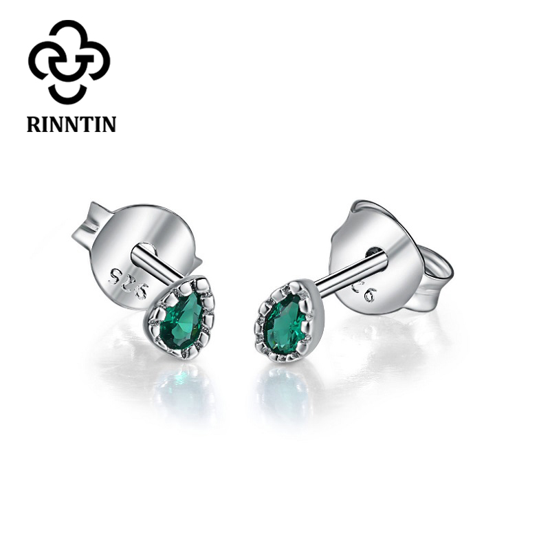 Rinntin Pure 925 Real Sterling Silver Women Stud Earrings Oval Cut AAA Dazzling Zircon Gift Small Earring Silver Jewelry TPSE77