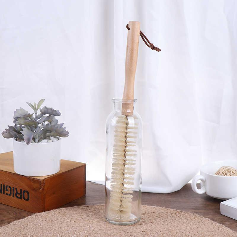 Gorąca sprzedaż drewniana szczotka z długą rączką unikalna konstrukcja do butelki dla niemowląt szorowanie urządzenia do oczyszczania do czyszczenia kuchni do mycia