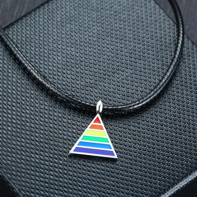 """Vnox Rainbow Gay Lesbian LGBT Pride Triangle Pendant Necklaces for Men Woman with 24"""" Black Rope Chain"""