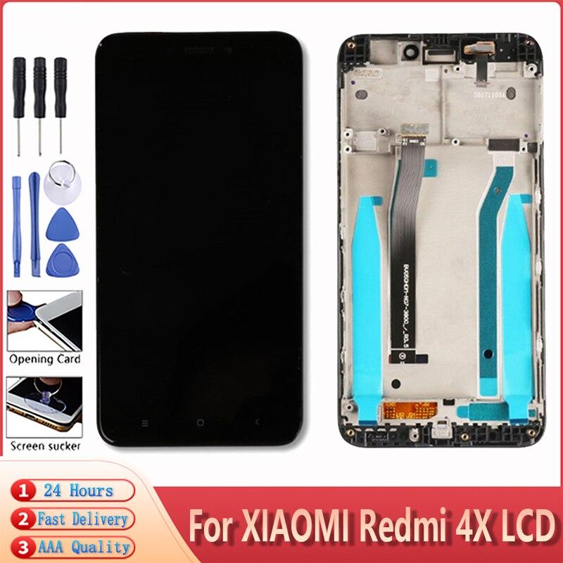100% абсолютно новый для Xiaomi Redmi 4X ЖК-дисплей сенсорный экран дигитайзер сборка запасная часть с рамкой + Инструменты Бесплатная доставка