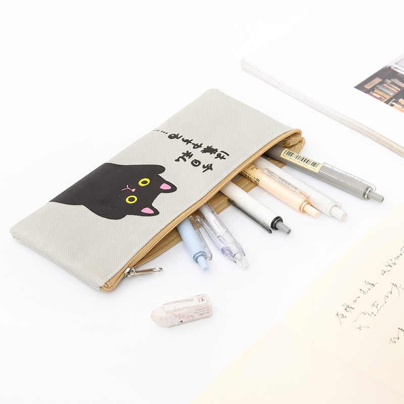 1 個クリエイティブオックスフォード布猫ペンケースかわいいオフィス学生鉛筆ケース学用品ペンボックスオフィスペンケースバッグ