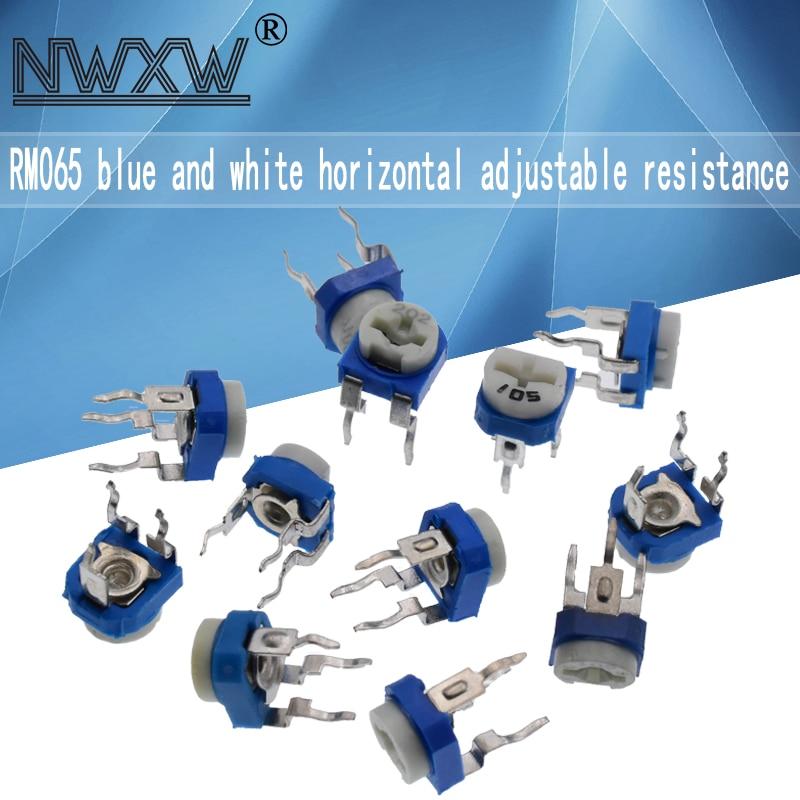 20 unids/lote rm065 ajustable resistencias 100R 200, 500 1k 2k 5k 10k 20k 50k 100k 200k 500k 1m ohm horizontal ajustable potenciómetro