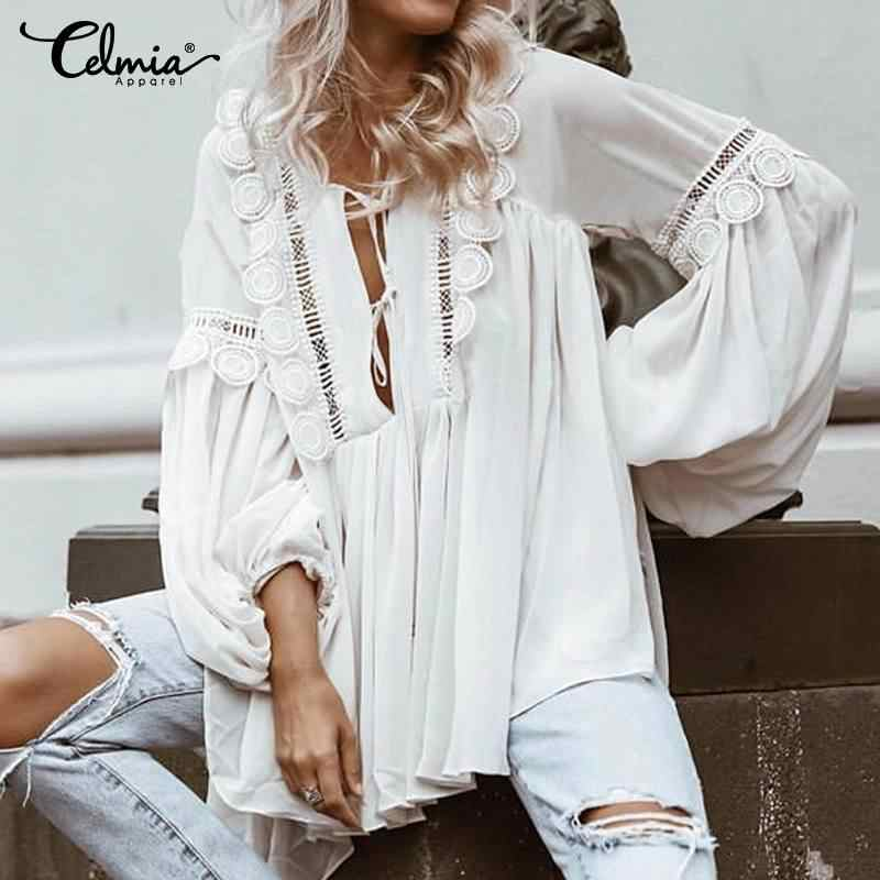 Celmia Vrouwen Lantaarn Lange Mouwen Wit Blouses Elegant Hollow Out Tuniek Tops Solid Losse Casual Shirts Plus Size Blusas Feminina