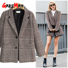 Spring vintage plaid blazer for women tweed women's office ladies suits coat lon