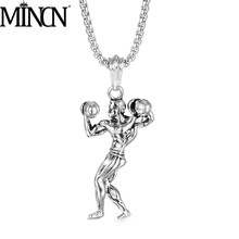 MINCN Dumbbell Muscle Mens Gym Necklace Sports Jewelry Chain Hip Hop Punk Stainless Steel Titanium Pendant Forging