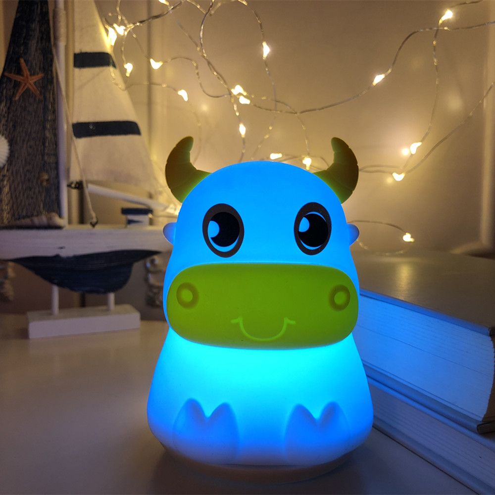 Cute Cow LED Night Light Touch Sensor Colorful Silicone Bull Cattle Table Lamp Bedroom Bedside Lamp For Children Kids Baby Gift