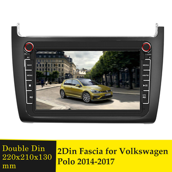 2Din Radio Fascia Car DVD Player Frame Panel for VW Polo 2014-2017 Stereo Fascias Bezel Dashboard Installation Mounting Trim Kit image