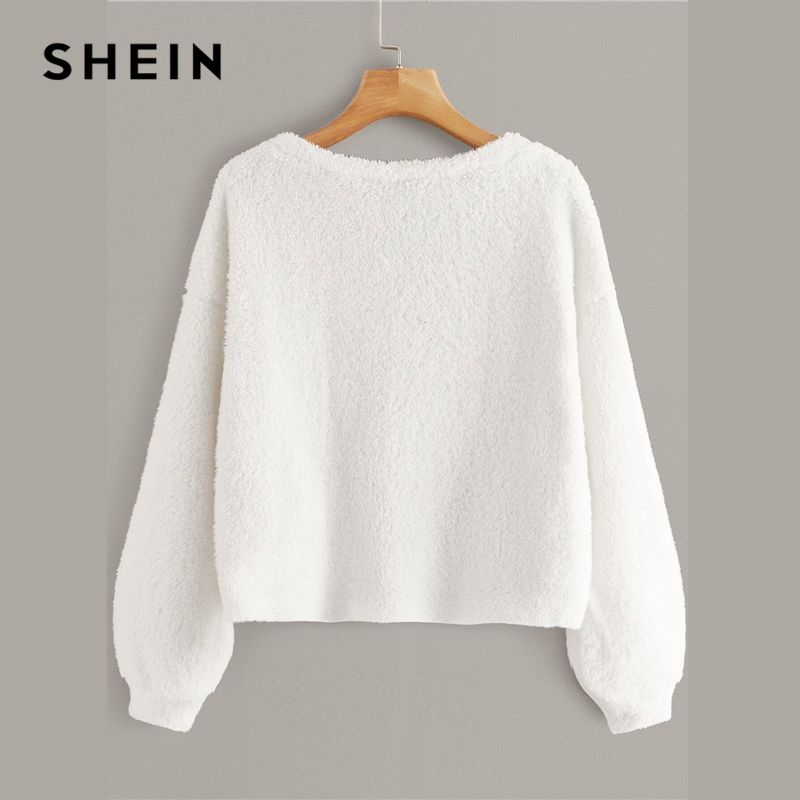 SHEIN Solid V Neck Drop Shoulder Fuzzy Winter Pullover Women Tops Autumn Fashion Long Sleeve Basic Ladies Casual Sweatshirts 2