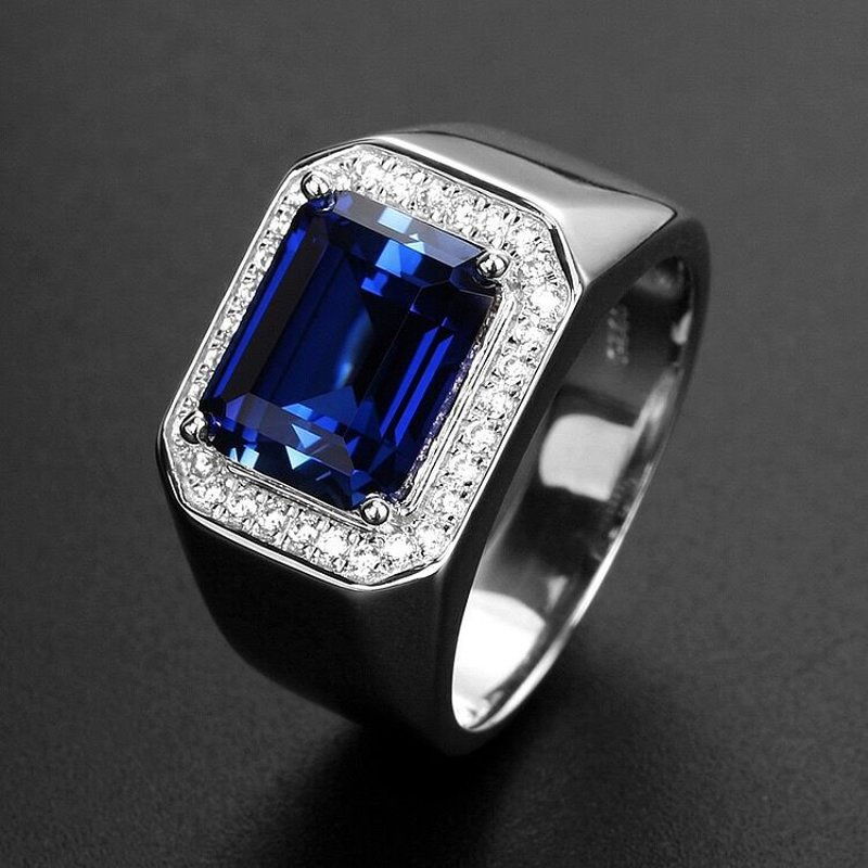 Vintage Sapphire Ring For Men S925 Silver Color Blue Gemstone Green Emerald White Gold Ring Engagement Wedding Male Rings