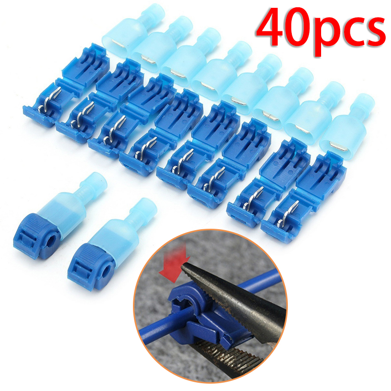 40Pcs Quick Electrical Cable Connectors Wire Terminals Crimp Electricity Parts For Tapping Into Wires To Test / Wire Connection