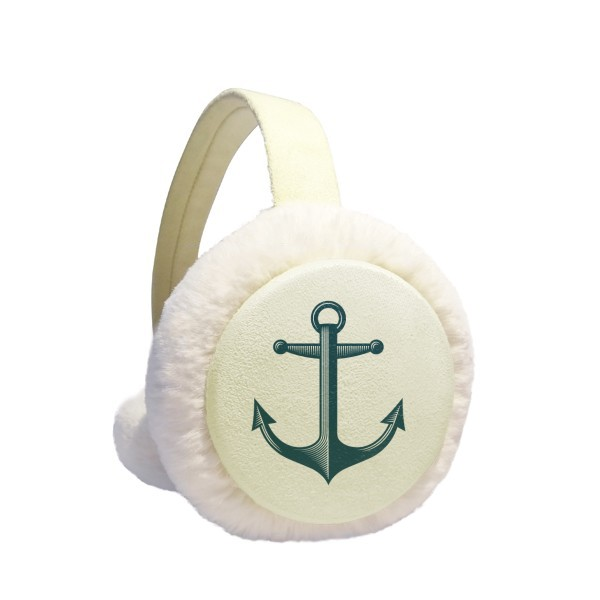 Anchor Droits Admiralty Blue Military Ocean Winter Earmuffs Ear Warmers Faux Fur Foldable Plush Outdoor Gift