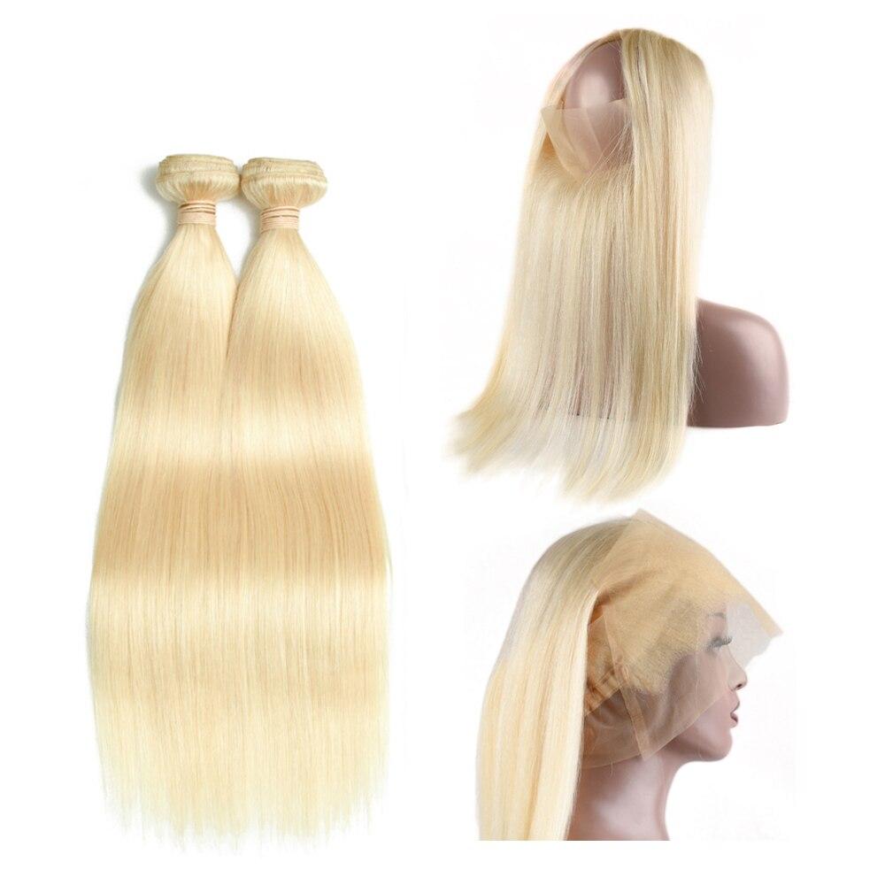Beau светильник для волос, блонд, перуанские прямые волосы, 2 пряди, с 360, фронтальная часть шнурка, не Реми, человеческие волосы, плетение с 360