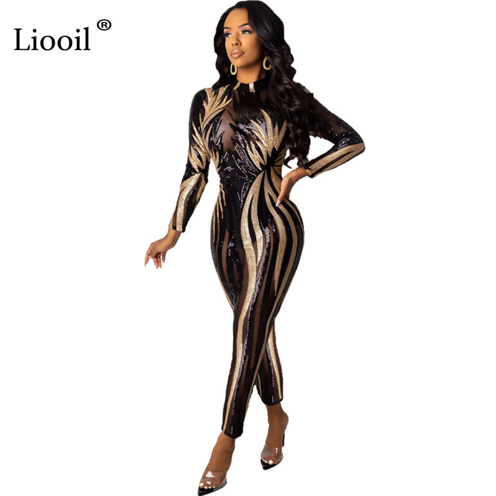 Black Gold Sexy Sequin Bodycon Bandage Jumpsuit Clubwear Mesh Sheer Women Sexy Club Jumpsuits Long Pants Evening Party Cocktail