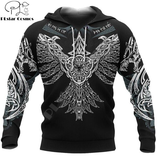 Фото viking pullover hoodie raven of odin 3d printed men women zip