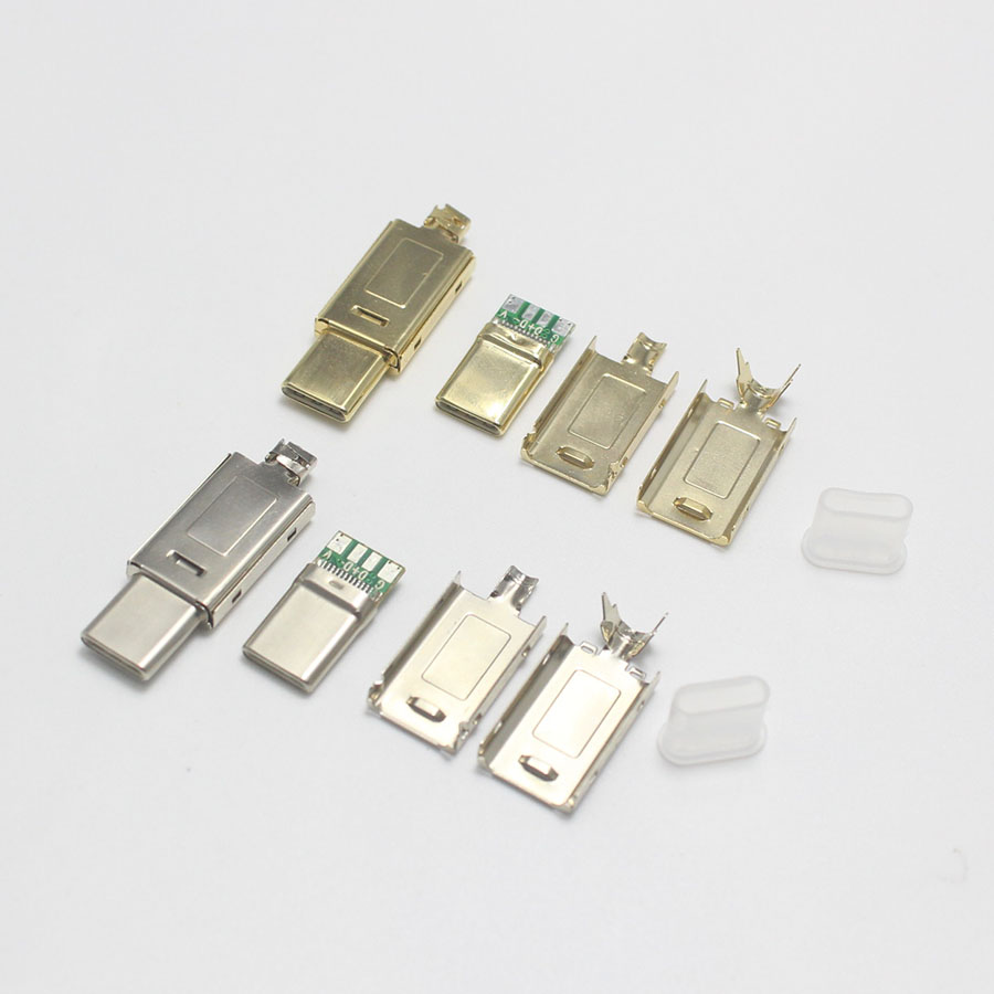 EClyxun 2set Gold-plated OTG USB 3.1 4P Type C Male Plug Welding USB-C 4 In 1 DIY Repairs Cable Charger Connector For Phone Ect