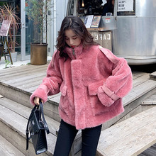 2020 New Winter Women Fashion Faux Fur Jacket Sweet Imitation Lambswool Ins Chic Leather Buckle Oversized Outerwear Ladies Coat(China)