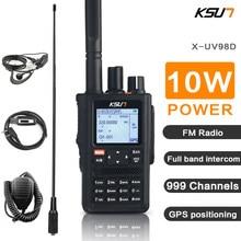 Ksun walkie talkie ao ar livre 10w de alta potência segmento tela cheia gps posicionamento multifuncional duplo segmento tela colorida handheld