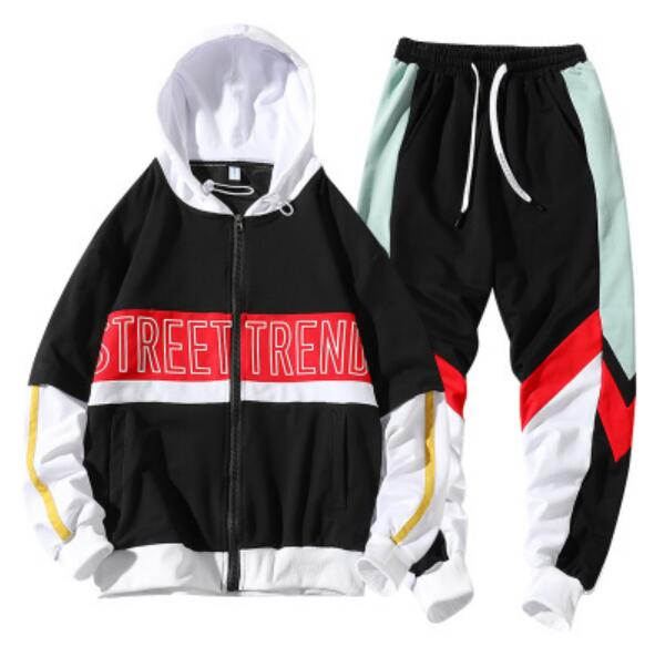 Men Casual Hoodies Casual Gym Walk Jogging Sport Tracksuit Coat Jacket Trousers Pants Suit Spring Fall Outfit 2PC