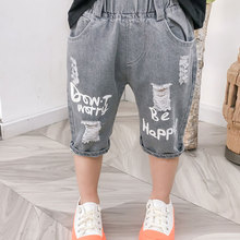 Boy Summer Shorts Jeans Trousers Baby Stretch Letter 2-6year Staright