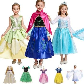 Vestido de princesa de verano para niñas Ana Elza, vestido blanco de nieve, fiesta enredada, disfraz de princesa para niños, ropa de Cosplay de cumpleaños para niñas