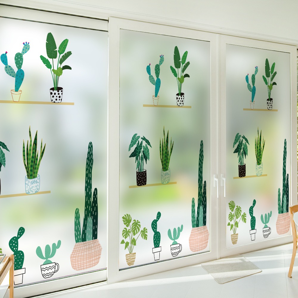 Green Plant Pot Window Sticker Frosted Stained Glass Adhesive Film Opaque Privacy Window Film Staic Cling No Glue Smart Film New in Decorative Films from Home Garden