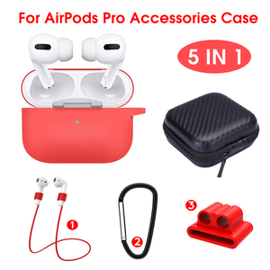 5 IN-1 Lanyard Carabiner Protective Case For Airpods Pro Soft Silicone Earphones Case for airpods 3 pro Accessories Storage Box(China)