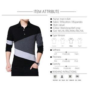 Image 3 - BROWON automne mode grande taille 5XL hommes t shirt avec col couleur Patchwork t shirt à manches longues t shirt hommes vêtements 2020