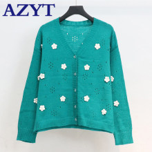 AZYT Floral Decoration Hollow Out knit Women's Cardigan 2020 Autumn New V Neck Female Sweater Cardigan Jacket(China)