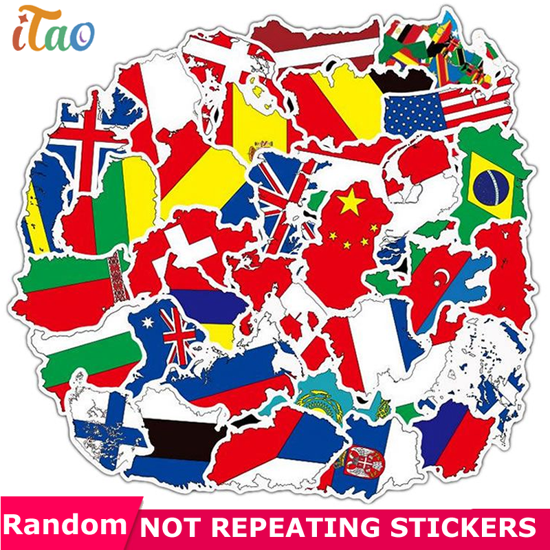 10/20/30/40/50PCS Cartoon National Flags Map Sticker Waterproof PVC Skateboard Luggage Motorcycle Laptop Guitar Kid Toy Stickers