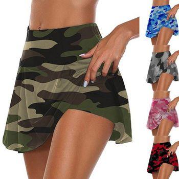 Women High Waist 2-In-1 Sport Skorts Camouflage Pleated Golf Skirts with Shorts X7YA