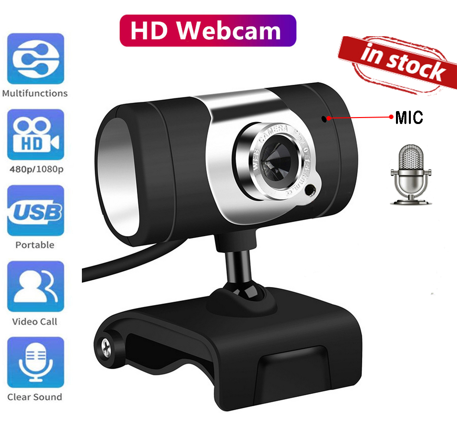 In Stocks Full HD USB 640x480 Webcam Camera With Mic Clip-on For Computer Smart Android Tv Gaming PC Laptop Drop Shipping