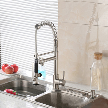 8029L-2 High Pressure Copper Wire Drawing Faucet Kitchen Dish Hot And Cold Water Mixing Faucet Sink Spring Double Head Faucet