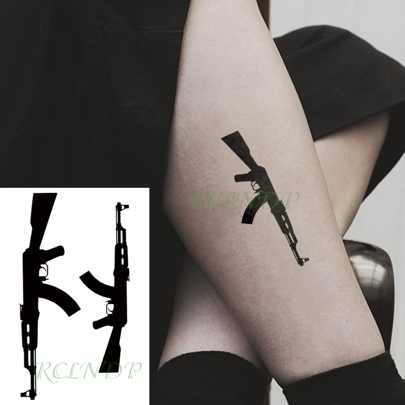 Waterproof Temporary Tattoo Sticker Black Machine Gun Tatto Flash Tatoo Fake Tattoos For Men Women
