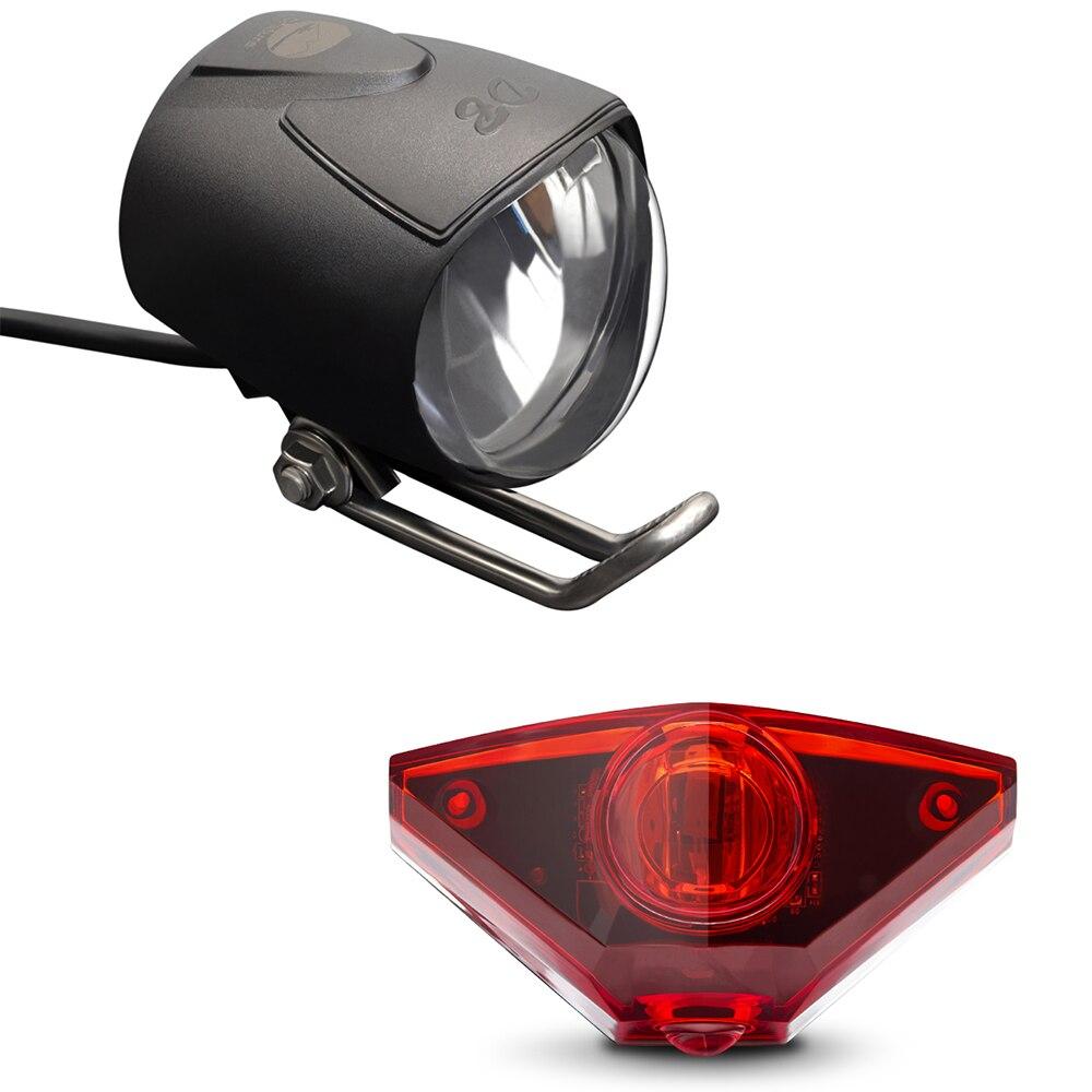 Onature Ebike Light Set Include Ebike Headlight Electric Bike Tail Lamp DC 6V 12V 24V 36V 48V 60V LED Electric Bike Light