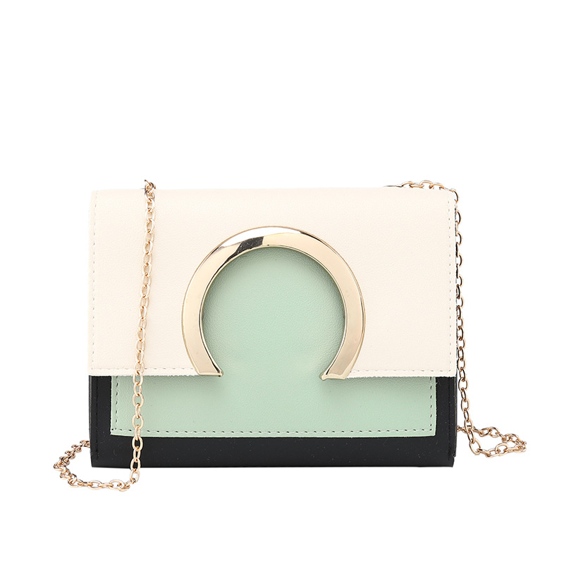 Bags For Women Contrast Color PU Leather Crossbody 2019  Ring Decoration Patchwork Handbag Fashion Clear Design Shoulder Bags