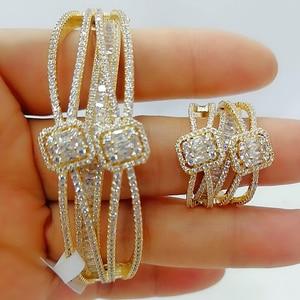Image 2 - GODKI Luxury 2PCS Dubai Bangle Ring Set Fashion Jewelry Sets For Women Wedding Engagement brincos para as mulheres 2020