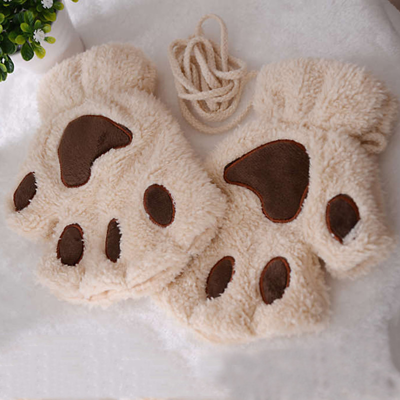 Winter Gloves Women Girls Paw Mitten Plush Gloves Bear Cat Claw Half Finger Gloves Ladies Covers Fingerless Cute Gloves Anime