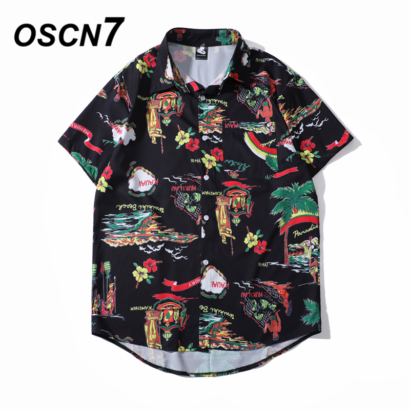 OSCN7 Casual Cloud Printed Short Sleeve Shirt Men Street 2020 Hawaii Beach Oversize Women Fashion Harujuku Shirts For Men 2032