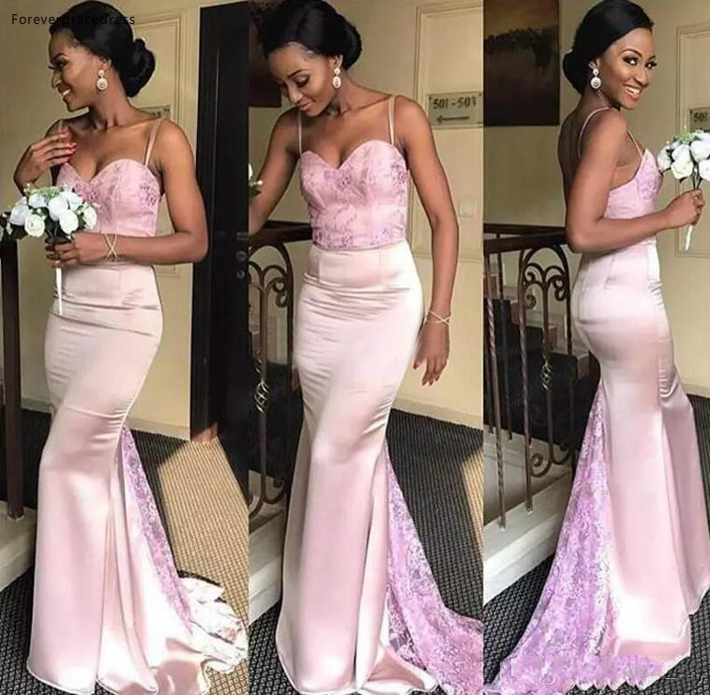 2019 African Nigerian Bridesmaid Dress Pink Mermaid Country Garden Formal Wedding Party Guest Maid of Honor Gown Plus Size