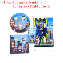 Cartoon Superhero Party Supplies Kids Super Hero Birthday Party Decoration Napkins Baby Shower Paper Cups Plates Tablecloth Set