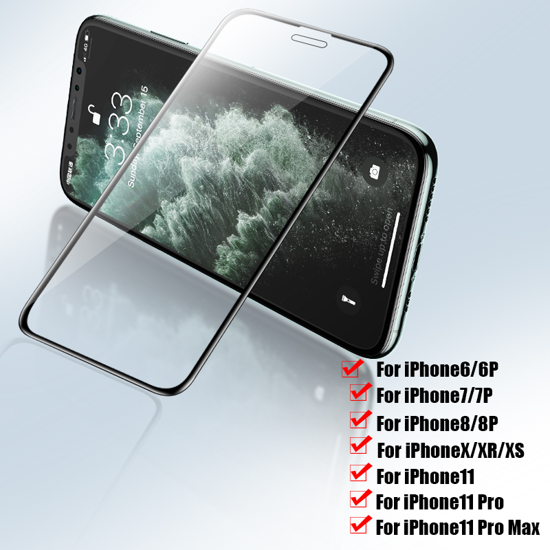 3Pcs Full Cover Screen Protector On For IPhone 11 Pro Max Xs Max X Xr Tempered Glass For IPhone 7 6 8 Plus Protective Glass