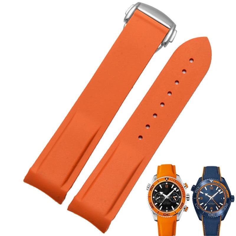 Rubber Silicone Bracelet Strap Band for Omega Speedmaster Seamaster Aqua Terra Watch Belt 20mm 22mm Men Watch Strap Orange Clock|Smart Accessories| |  - title=