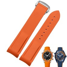 Rubber Silicone Bracelet Strap Band for Omega Speedmaster Seamaster Aqua Terra Watch Belt 20mm 22mm Men Watch Strap Orange Clock все цены