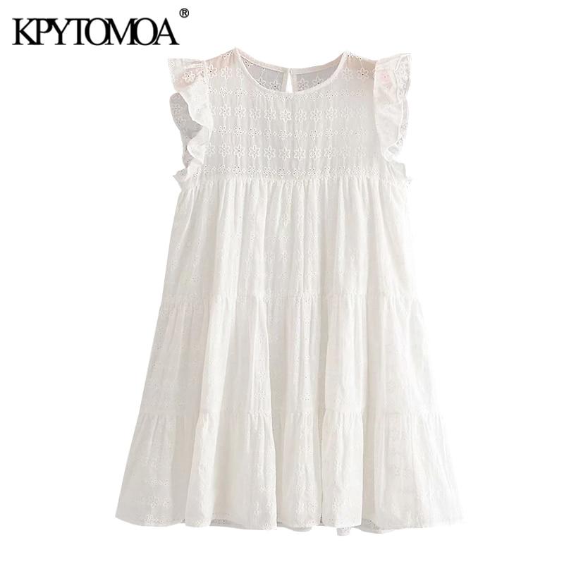KPYTOMOA Women 2020 Sweet Fashion Hollow Out Embroidery Ruffled Mini Dress Vintage Sleeveless With Lining Female Dresses Mujer