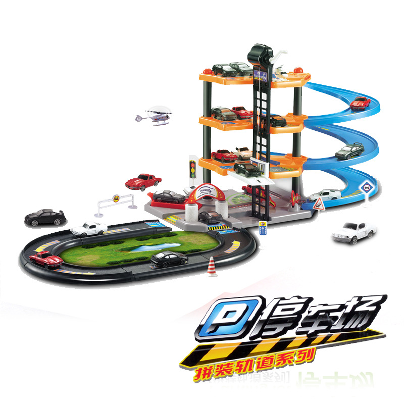 Dibang-0982 Four Layer Assembled Rail Car Medium Model Parking Lot Toy Architecture Model Toy