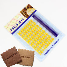 Alfabeto, número, carimbo da argila da letra impressiona o conjunto da gravação, selos da imprensa do biscoito, ferramentas cerâmicas da cerâmica do nome da cópia