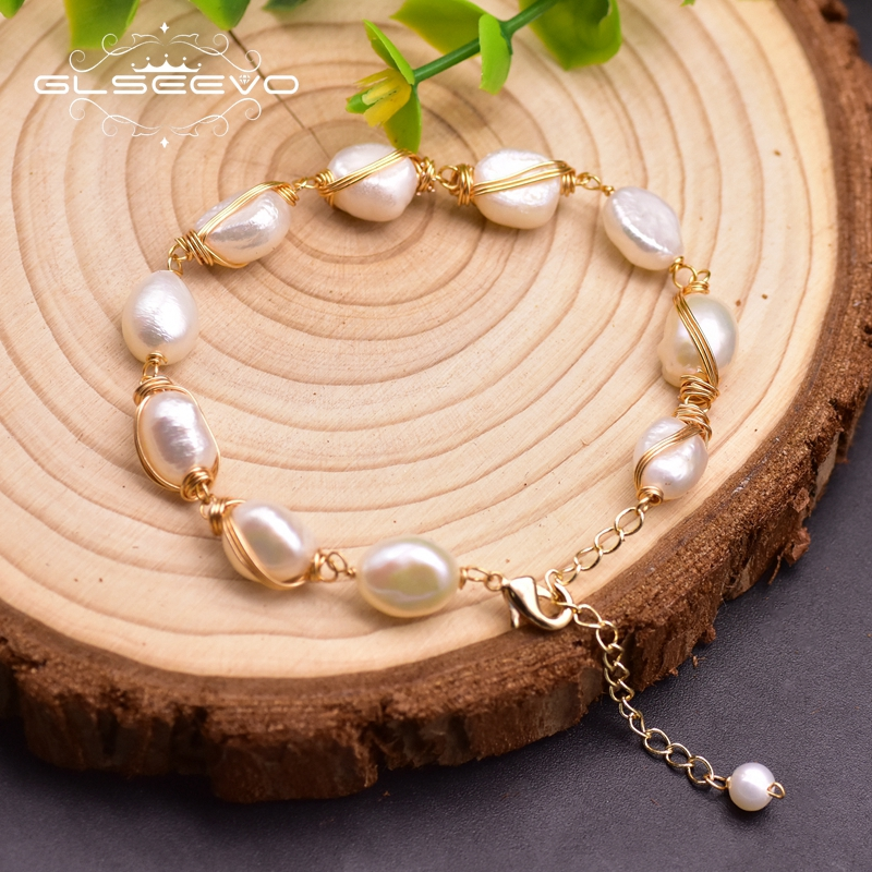 GLSEEVO Original Design Natural Baroque Pearls Adjustable Bracelet For Women Anniversary Girls Vintage Fine Jewelry Femme GB0213