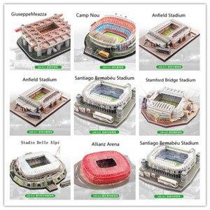 Image 1 - Puzzle 3D europejski klub piłki nożnej Liverpool miejsca DIY Model Puzzle zabawki papier budynek stadion piłka nożna montaż prezenty z motywem gry
