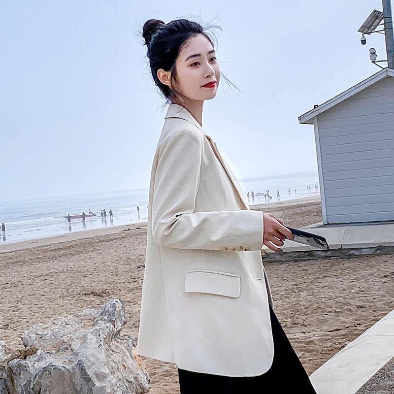 Women White Blazer Oversize Tunic Fit Long Sleeve Jacket 2020 Autumn Winter Office Coat Girls Korean Style Basic Tops Outwear
